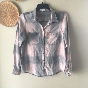 Maurices Plaid Faded Wash Button Down Shirt pink L